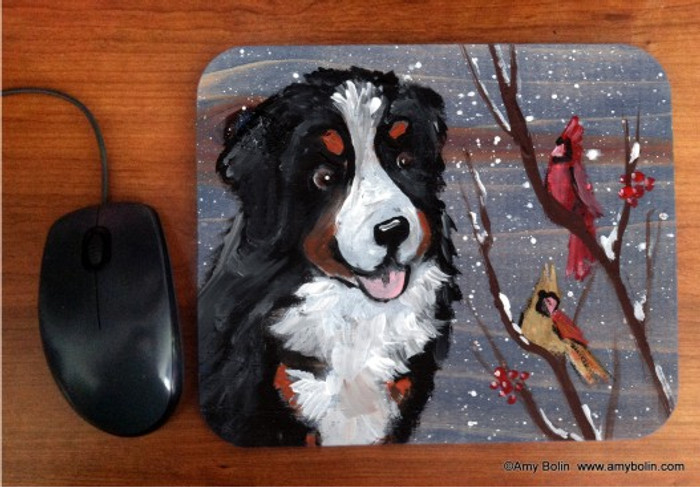 MOUSE PAD · WINTER BUDDIES · BERNESE MOUNTAIN DOG & CARDINALS · AMY BOLIN