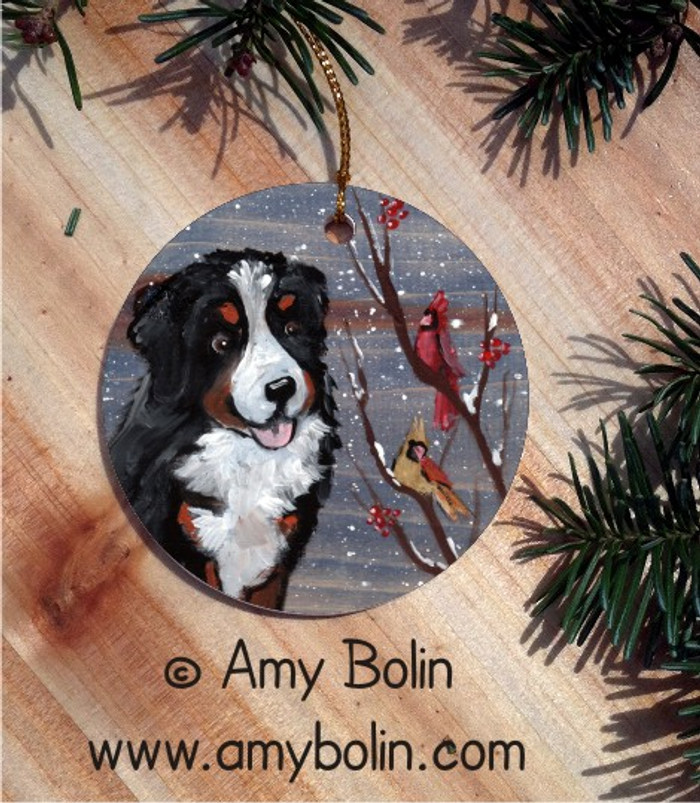 CERAMIC ORNAMENT · WINTER BUDDIES · BERNESE MOUNTAIN DOG & CARDINALS · AMY BOLIN