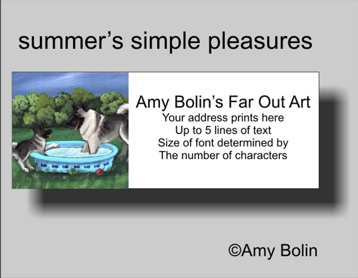 ADDRESS LABELS · SUMMER'S SIMPLE PLEASURES · NORWEGIAN ELKHOUND · AMY BOLIN