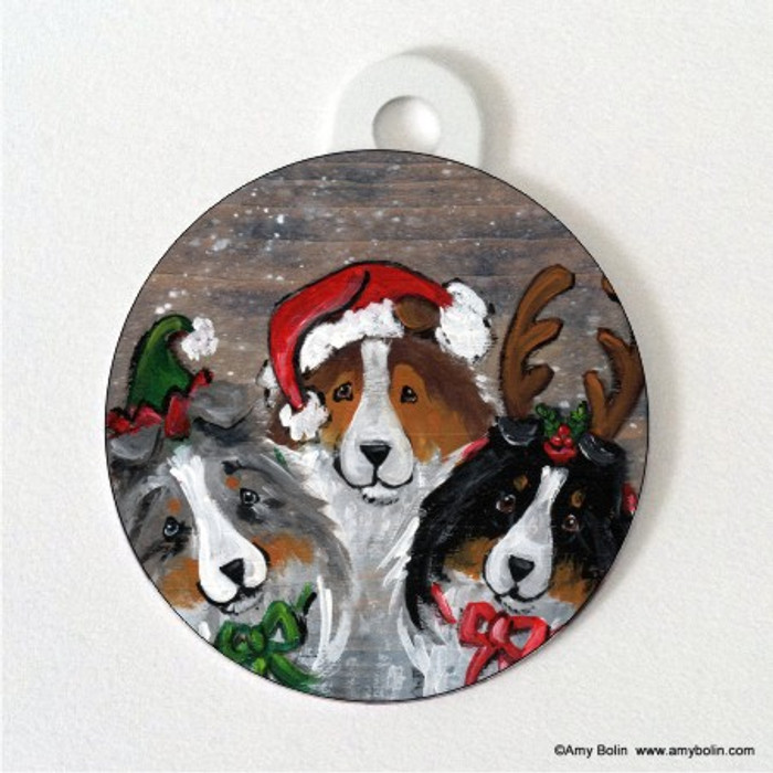 DOUBLE SIDED PET ID TAG · CHRISTMAS BUDDIES · BLUE MERLE, SABLE, TRI COLOR SHELTIE · AMY BOLIN