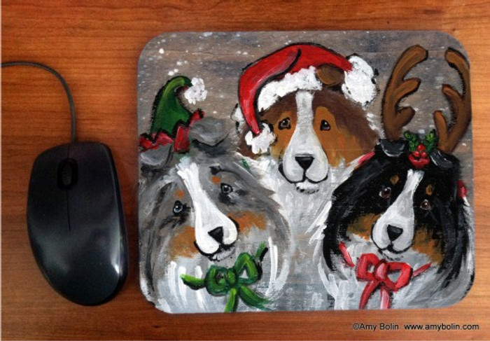 MOUSE PAD ·CHRISTMAS BUDDIES · BLUE MERLE, SABLE, TRI COLOR SHELTIE · AMY BOLIN