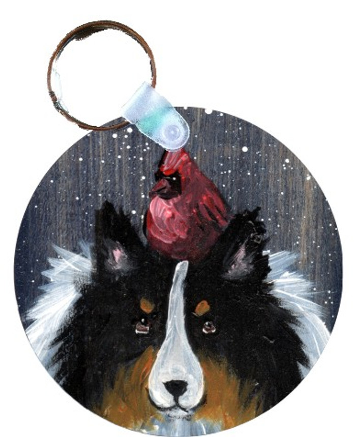 KEY CHAIN · WINTER BUDDIES · TRI COLOR SHELTIE & CARDINAL · AMY BOLIN