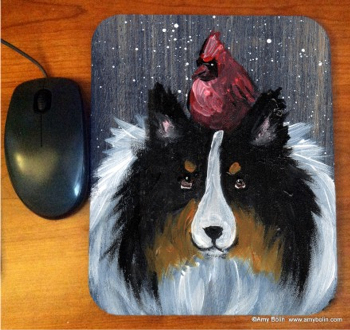 MOUSE PAD ·WINTER BUDDIES · TRI COLOR SHELTIE & CARDINAL · AMY BOLIN