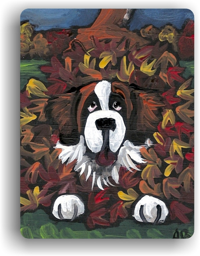 MAGNET · HAPPINESS IS A PILE OF LEAVES · SAINT BERNARD · AMY BOLIN