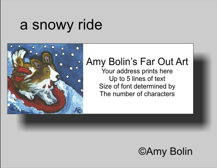 ADDRESS LABELS · A SNOWY RIDE · SABLE SHELTIE · AMY BOLIN