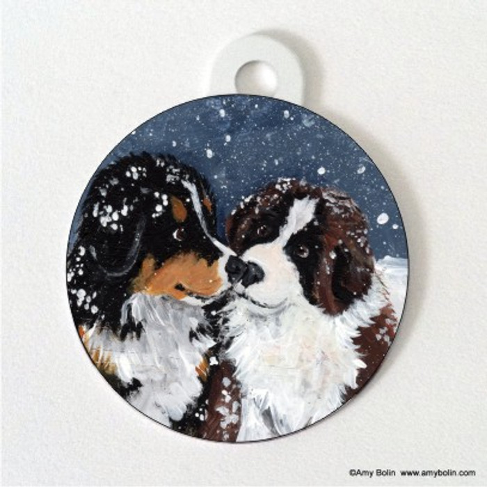 DOUBLE SIDED PET ID TAG · PUPPY KISSES · BERNESE MOUNTAIN DOG & SAINT BERNARD · AMY BOLIN
