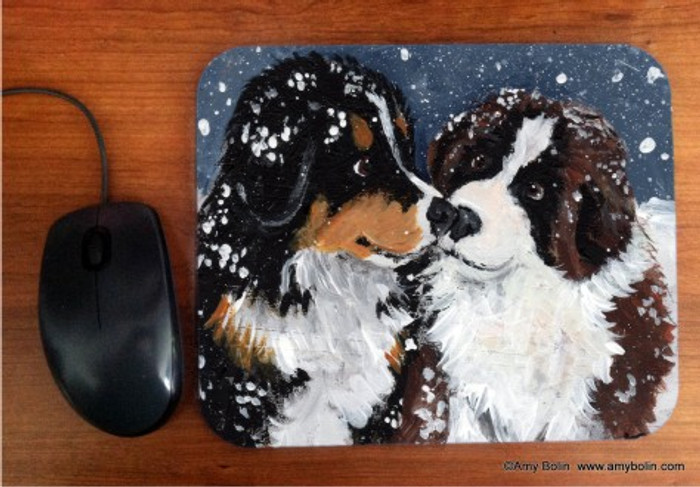 MOUSE PAD · PUPPY KISSES · BERNESE MOUNTAIN DOG & SAINT BERNARD · AMY BOLIN