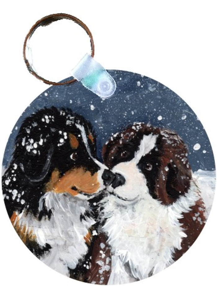 KEY CHAIN · PUPPY KISSES · BERNESE MOUNTAIN DOG & SAINT BERNARD · AMY BOLIN