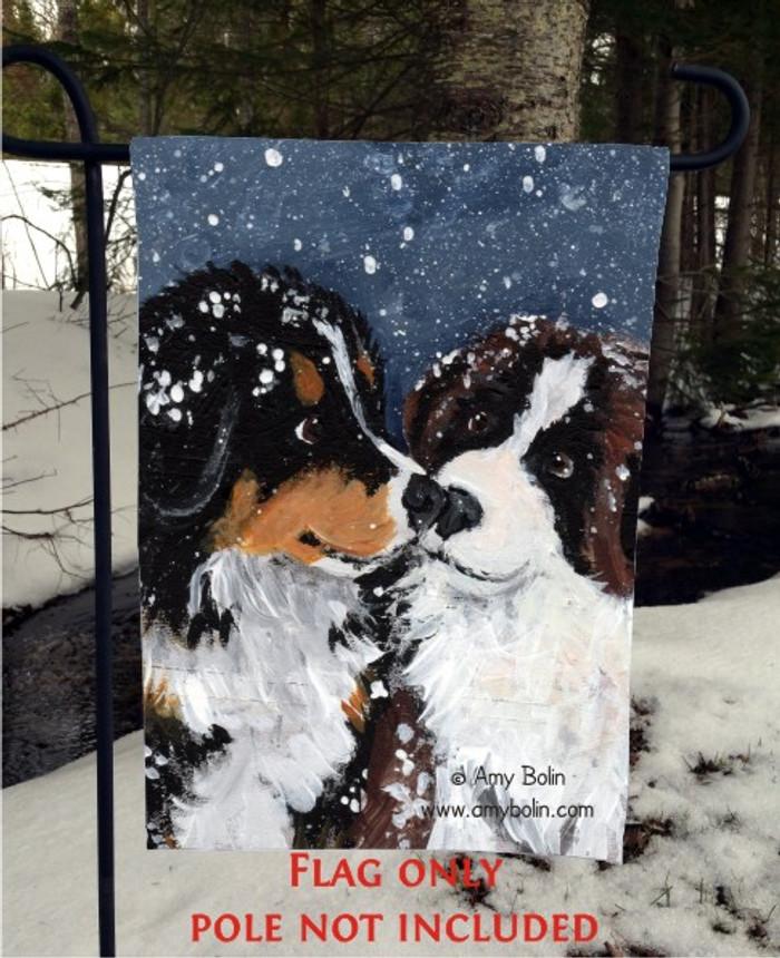 GARDEN FLAG · PUPPY KISSES · BERNESE MOUNTAIN DOG, SAINT BERNARD · AMY BOLIN