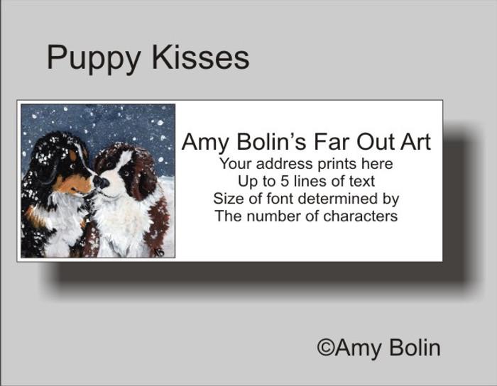 """""""Puppy Kisses"""" Bernese Mountain Dog, Saint Bernard Address Labels"""