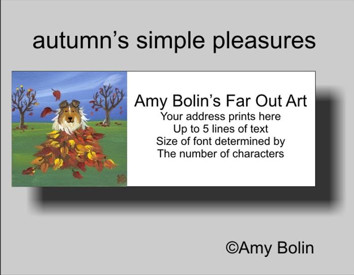 ADDRESS LABELS · AUTUMN'S SIMPLE PLEASURES · SABLE SHELTIE · AMY BOLIN
