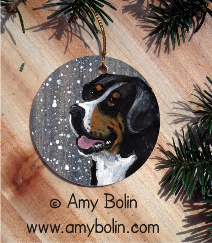 CERAMIC ORNAMENT · SWISSY · GREATER SWISS MOUNTAIN DOG · AMY BOLIN