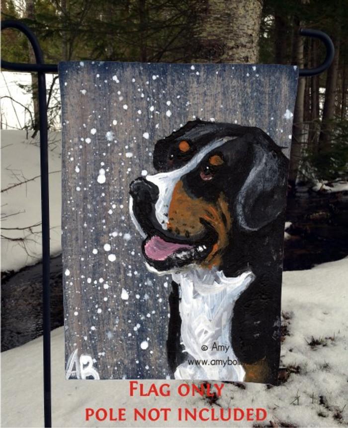 GARDEN FLAG · SWISSY · GREATER SWISS MOUNTAIN DOG · AMY BOLIN