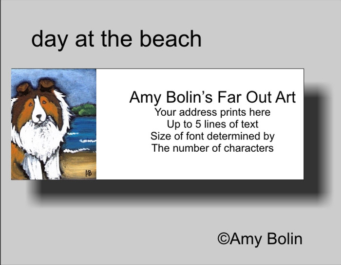 ADDRESS LABELS · DAY AT THE BEACH · SABLE SHELTIE · AMY BOLIN