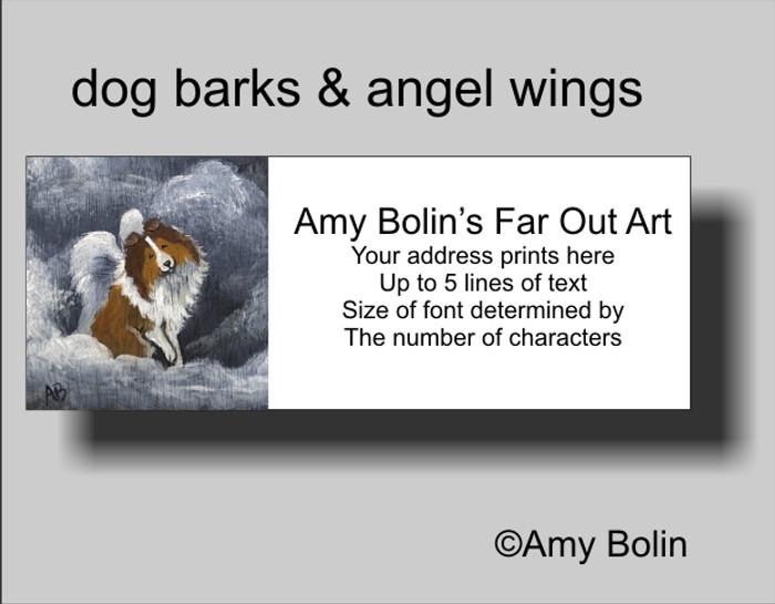 ADDRESS LABELS · DOG BARKS & ANGEL WINGS · SABLE SHELTIE · AMY BOLIN
