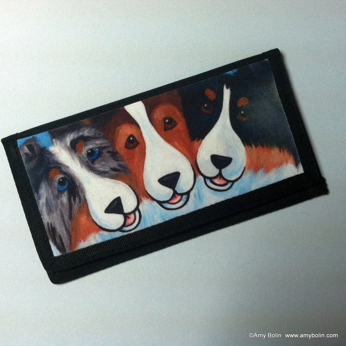CHECKBOOK COVER · BFF'S · BLUE MERLE, SABLE, TRI COLOR SHELTIES · AMY BOLIN