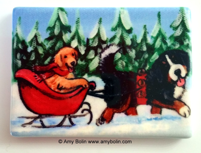 MAGNET · A WINTRY RIDE · BERNESE MOUNTAIN DOG & GOLDEN RETRIEVER · AMY BOLIN