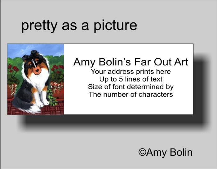 ADDRESS LABELS · PRETTY AS A PICTURE · TRI COLOR SHELTIE · AMY BOLIN