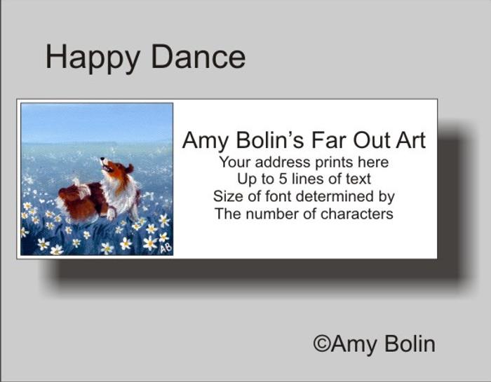 ADDRESS LABELS · HAPPY DANCE · SABLE SHELTIE · AMY BOLIN