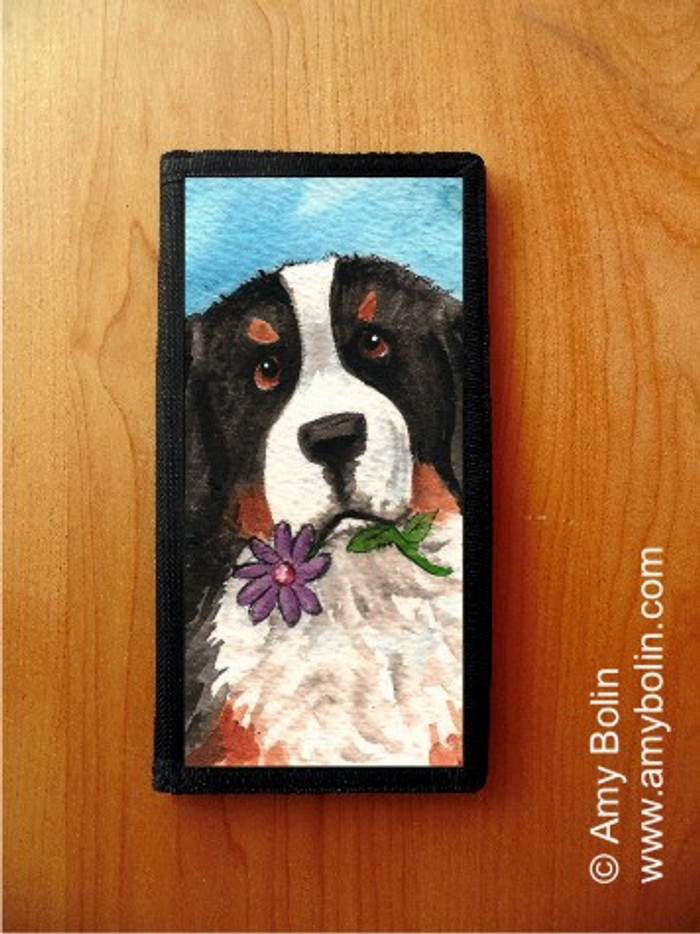 CHECKBOOK COVER · I SAW THIS FLOWER · BERNESE MOUNTAIN DOG · AMY BOLIN
