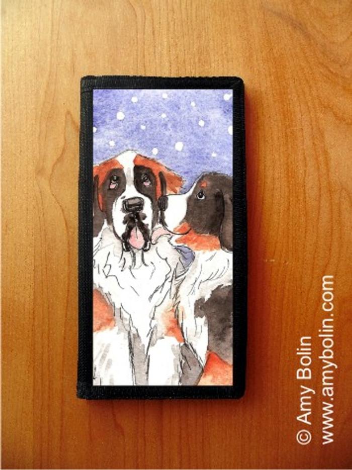 CHECKBOOK COVER · LITTLE KISS · BERNESE MOUNTAIN DOG, SAINT BERNARD · AMY BOLIN