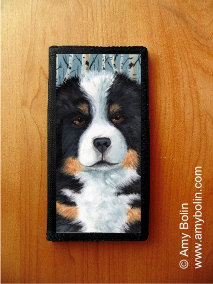 CHECKBOOK COVER · PUPPY EYES · BERNESE MOUNTAIN DOG · AMY BOLIN