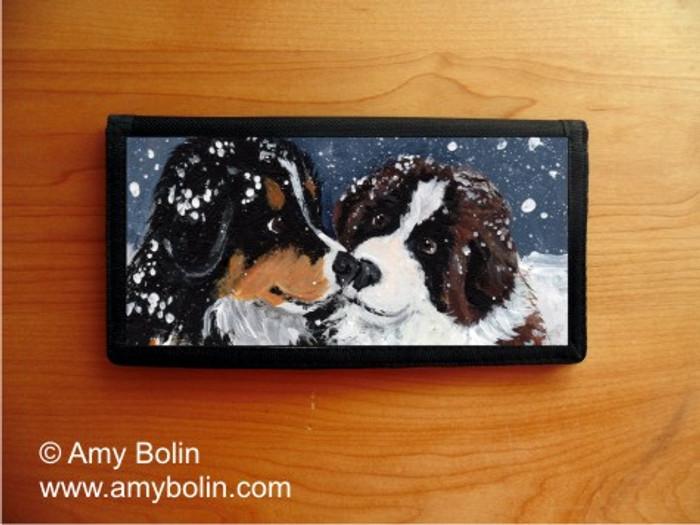 CHECKBOOK COVER · PUPPY KISSES · BERNESE MOUNTAIN DOG & SAINT BERNARD · AMY BOLIN