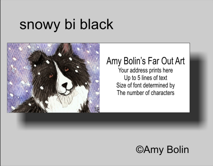 ADDRESS LABELS · SNOWY BI BLACK · BI BLACK SHELTIE · AMY BOLIN