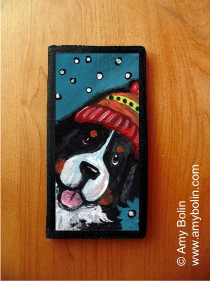 CHECKBOOK COVER · SNOWY WEATHER · BERNESE MOUNTAIN DOG · AMY BOLIN