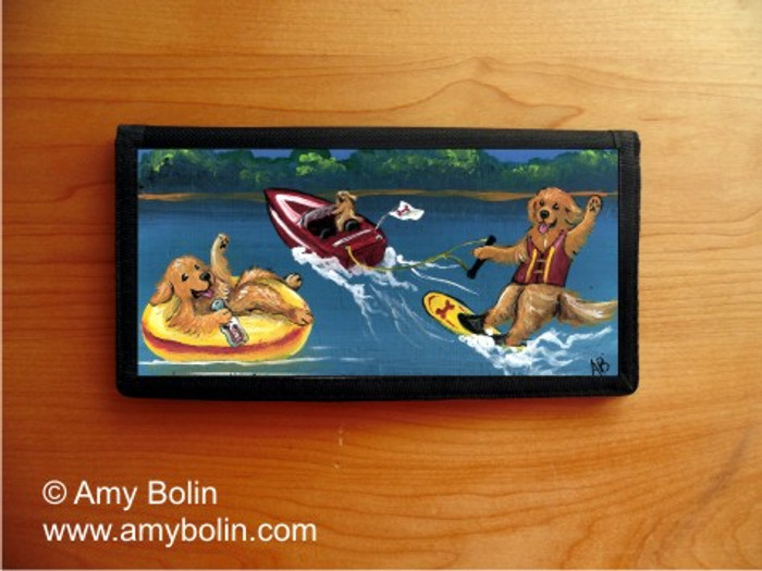 CHECKBOOK COVER · GOLDENS ON THE LAKE · GOLDEN RETRIEVER · AMY BOLIN