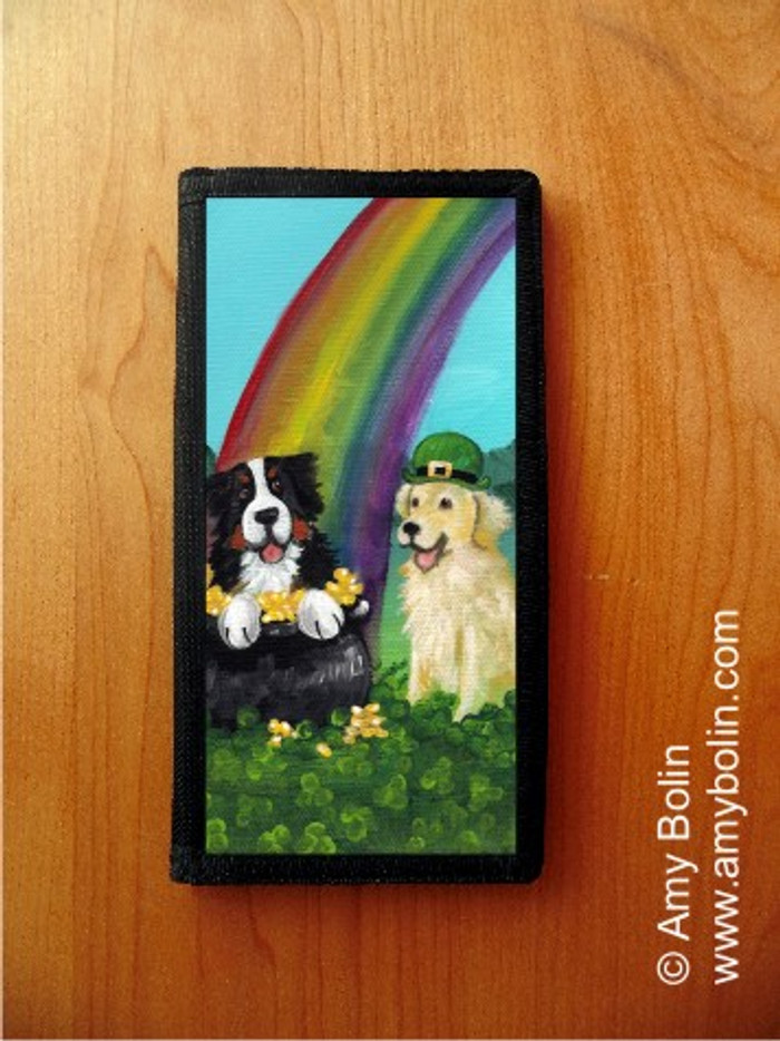 CHECKBOOK COVER · MY POT O' GOLD · BERNESE MOUNTAIN DOG & GOLDEN RETRIEVER · AMY BOLIN