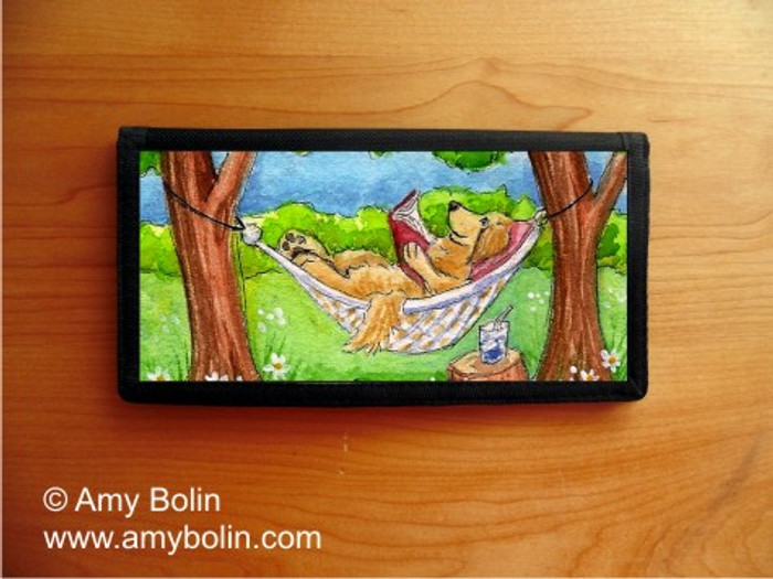 CHECKBOOK COVER · SUMMER IS FOR READING · GOLDEN RETRIEVER · AMY BOLIN