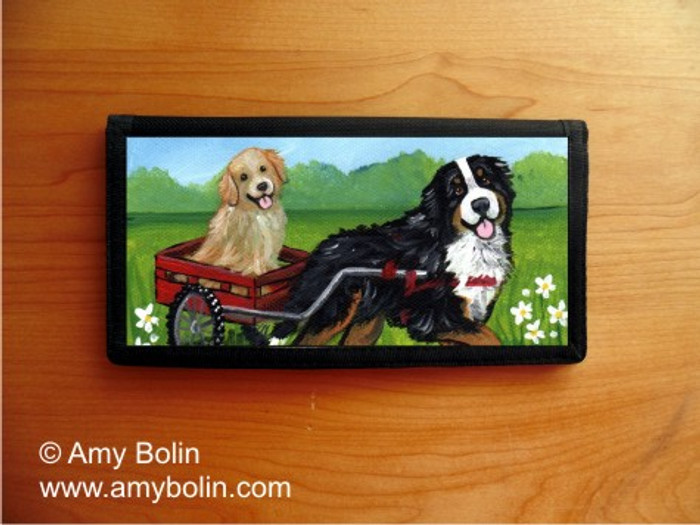 CHECKBOOK COVER · TRAVELING BUDDIES · BERNESE MOUNTAIN DOG & GOLDEN RETRIEVER · AMY BOLIN