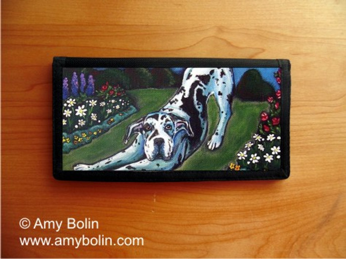 CHECKBOOK COVER · HARLEQUIN GARDEN · GREAT DANE · AMY BOLIN