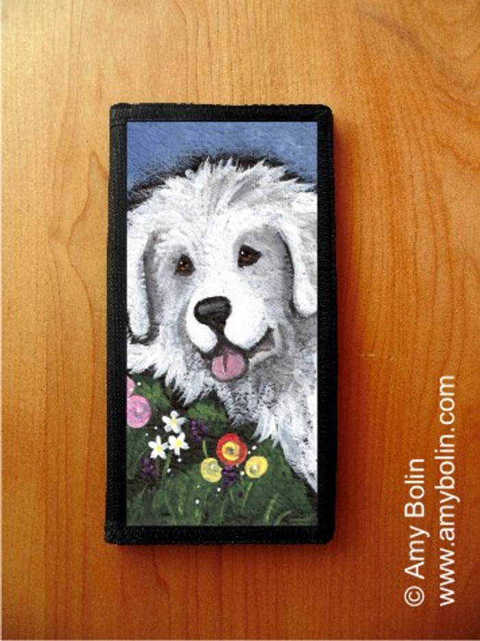 CHECKBOOK COVER · MOM'S FAVORITE FLOWER · GREAT PYRENEES · AMY BOLIN