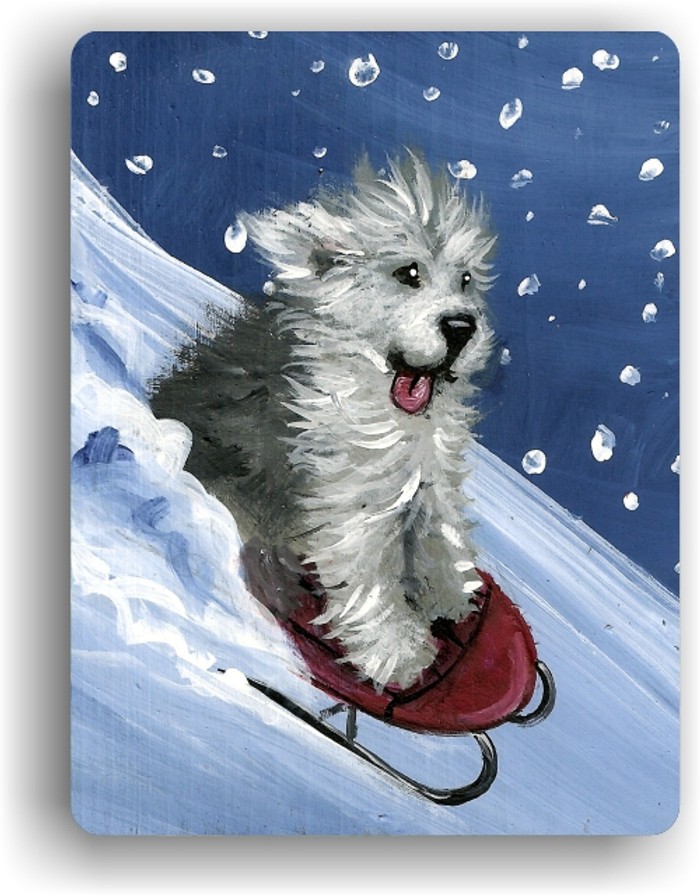 MAGNET · THE SLED RIDE   · OLD ENGLISH SHEEPDOG  · AMY BOLIN