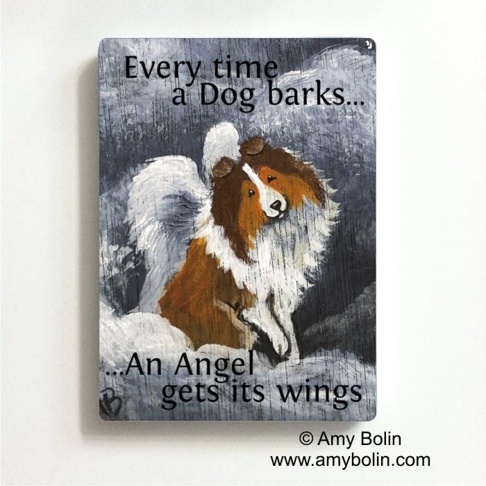 MAGNET · DOG BARKS & ANGEL WINGS· SABLE SHELTIE · AMY BOLIN