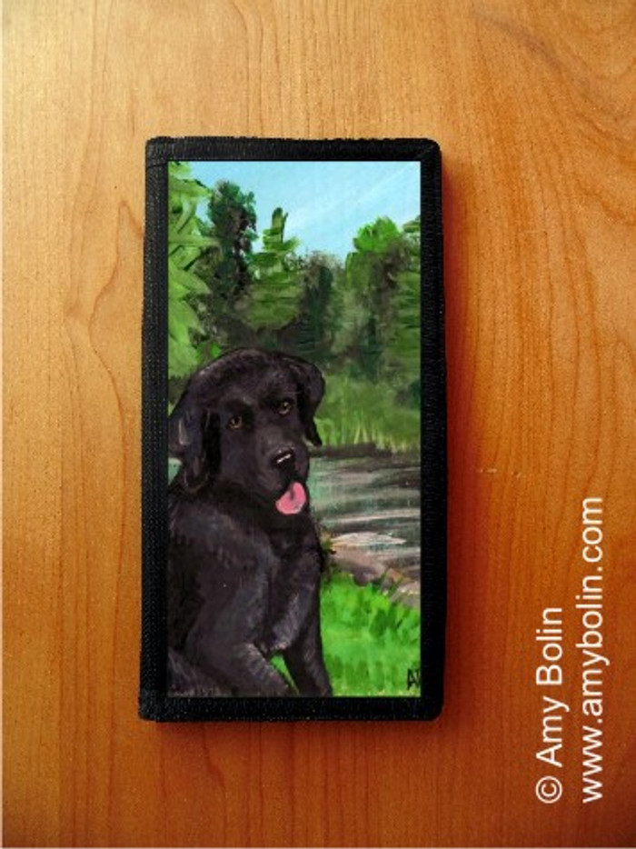 CHECKBOOK COVER · SAM ON THE STURGEON · BLACK LABRADOR RETRIEVER · AMY BOLIN