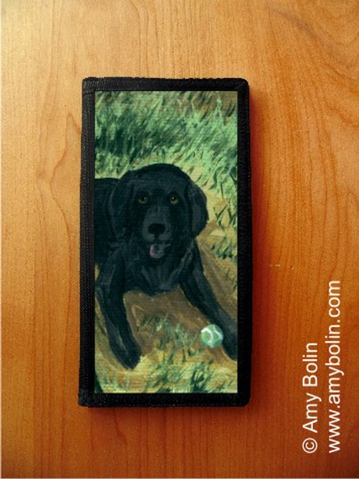 CHECKBOOK COVER · SHALL WE FETCH? · BLACK LABRADOR RETRIEVER · AMY BOLIN