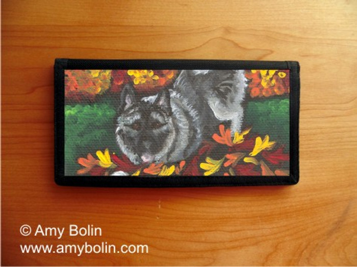 CHECKBOOK COVER · AUTUMN'S SIMPLE PLEASURES · NORWEGIAN ELKHOUND · AMY BOLIN