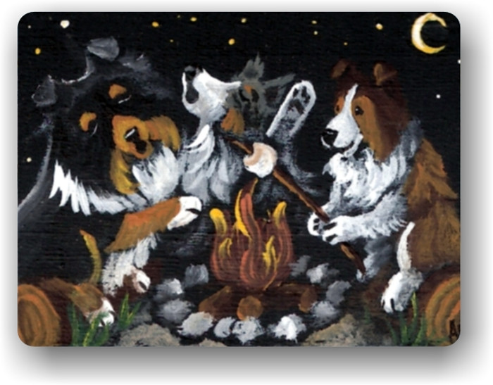 MAGNET · SHELTIES AROUND THE CAMPFIRE · BLUE MERLE, TRI COLOR, SABLE SHELTIE · AMY BOLIN