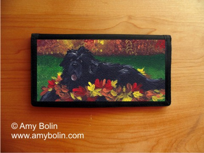 CHECKBOOK COVER · HAPPINESS IS A PILE OF LEAVES · BLACK NEWFOUNDLAND · AMY BOLIN