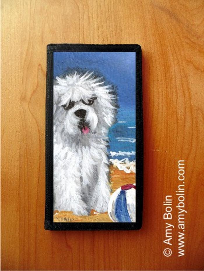 CHECKBOOK COVER · BEACH BUM · OLD ENGLISH SHEEPDOG · AMY BOLIN