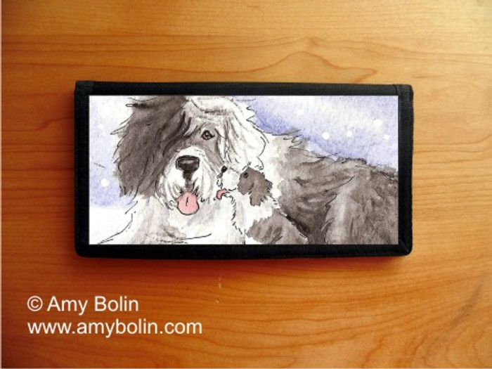 CHECKBOOK COVER · LITTLE KISS · OLD ENGLISH SHEEPDOG · AMY BOLIN