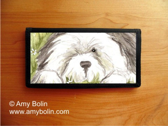 CHECKBOOK COVER · SHEEPIE IN THE DAISIES · OLD ENGLISH SHEEPDOG · AMY BOLIN
