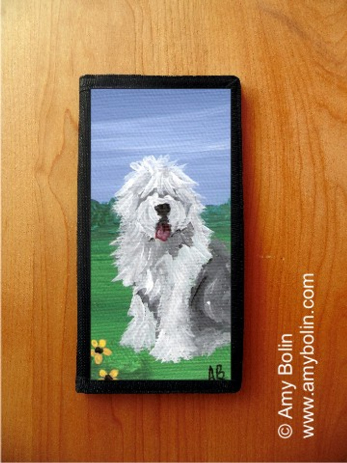 CHECKBOOK COVER · SUMMER · OLD ENGLISH SHEEPDOG · AMY BOLIN