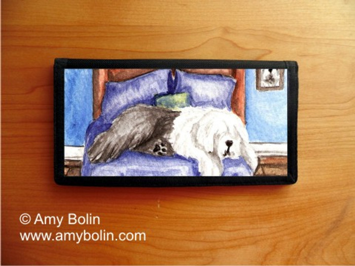 CHECKBOOK COVER · THE KING ON HIS THRONE · OLD ENGLISH SHEEPDOG · AMY BOLIN