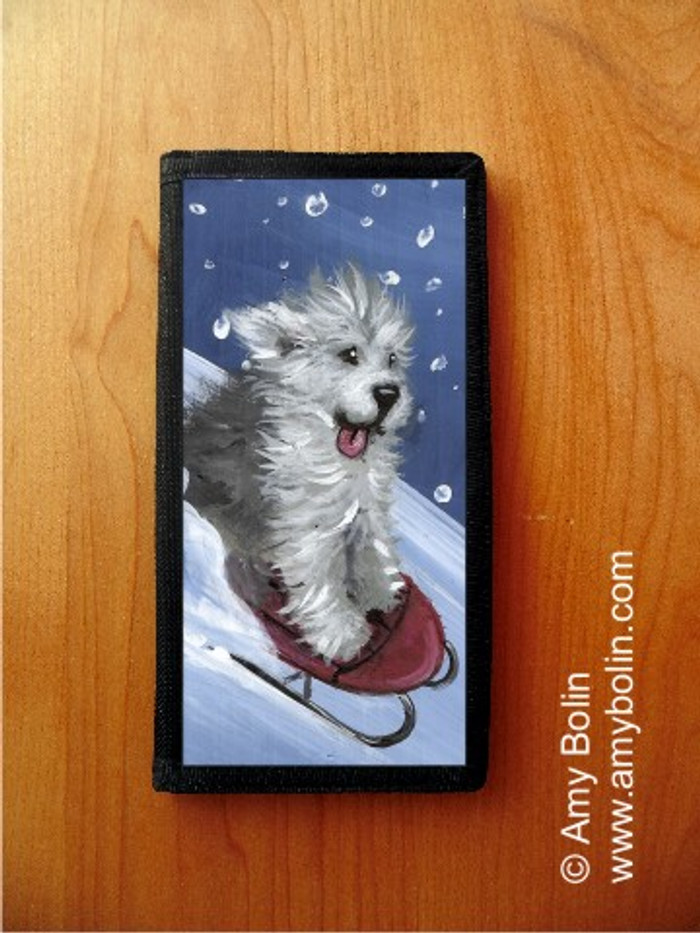 CHECKBOOK COVER · THE SLED RIDE · OLD ENGLISH SHEEPDOG · AMY BOLIN