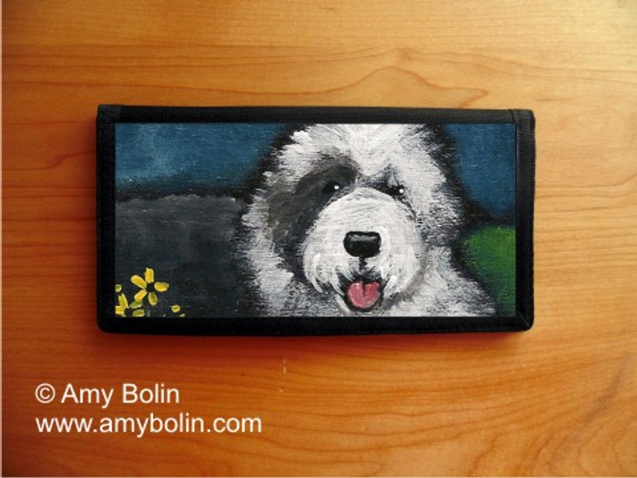 CHECKBOOK COVER · TOBY · OLD ENGLISH SHEEPDOG · AMY BOLIN