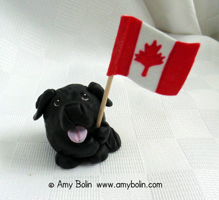 """Love of Country"" PUDGIE! · Black Newfoundland comes with American & Canadian flags · Amy Bolin · MINIATURE!  Sculpture Figurine"